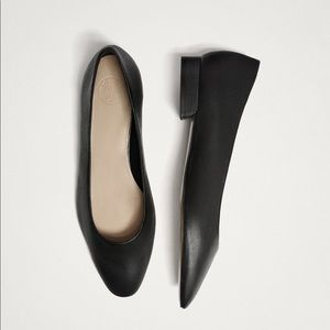 black leather ballerinas. NWT